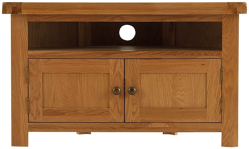 Chichester Cottage Style Rustic Oak Corner TV Unit