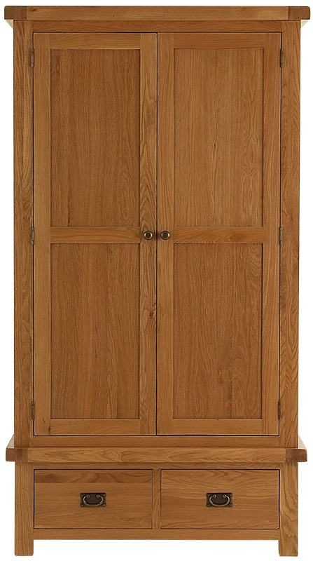 Chichester Cottage Style Rustic Oak 2 Door 2 Drawer Double Wardrobe