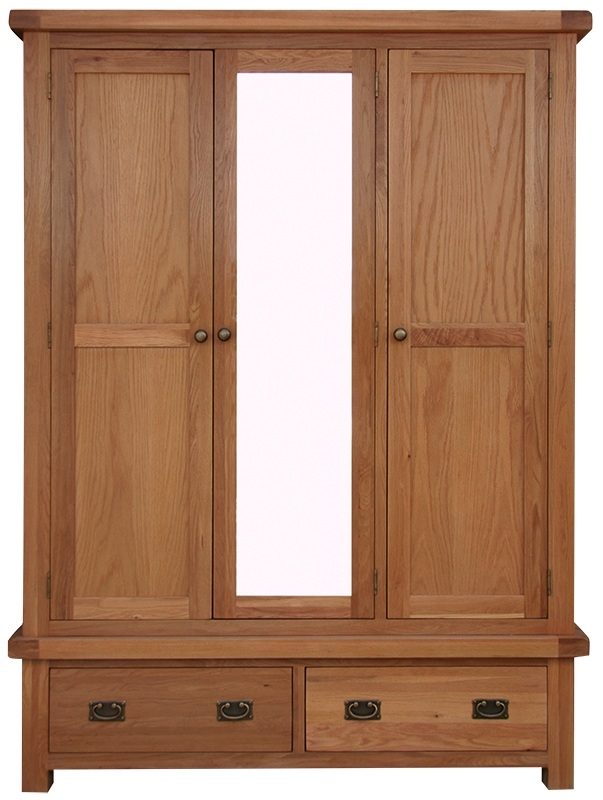 Chichester Cottage Style Rustic Oak 3 Door Triple Wardrobe with Mirror