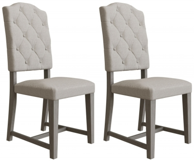 Coniston Grey Oak Buttoned Back Fabric Dining Chair (Pair)