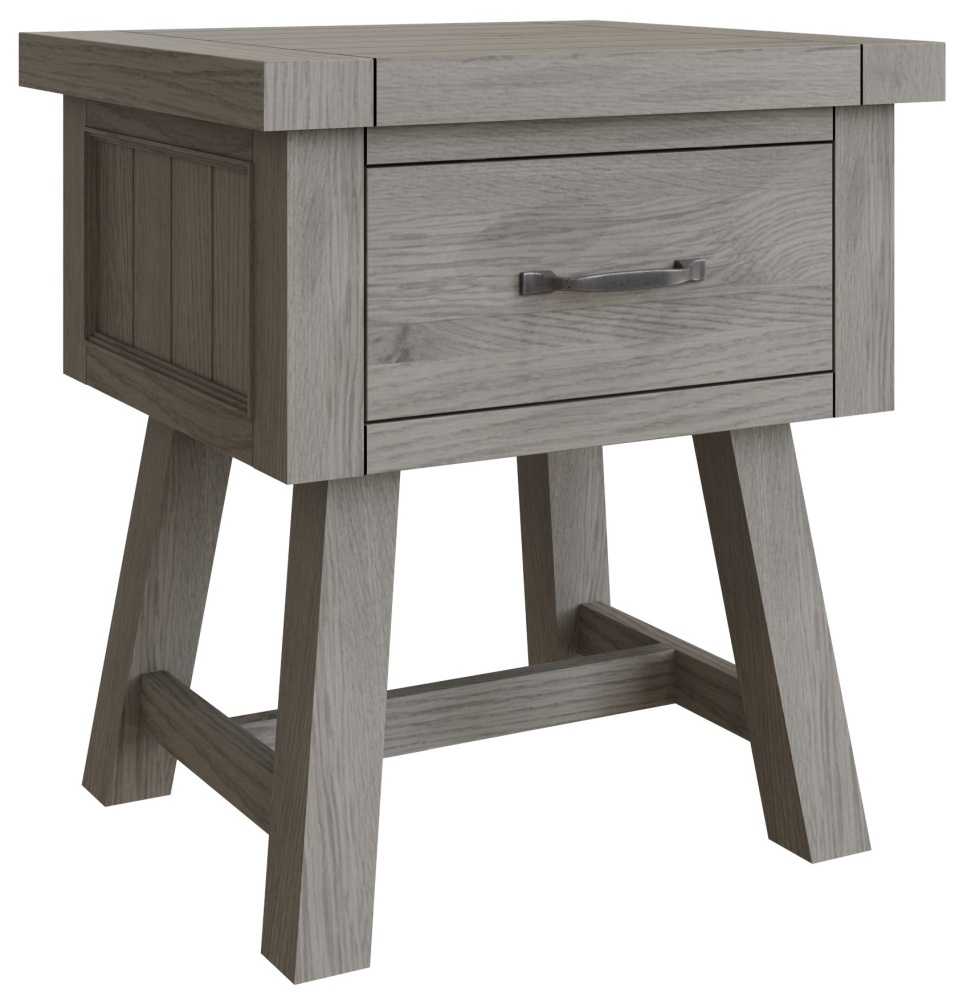 Coniston Grey Oak 1 Drawer Lamp Table
