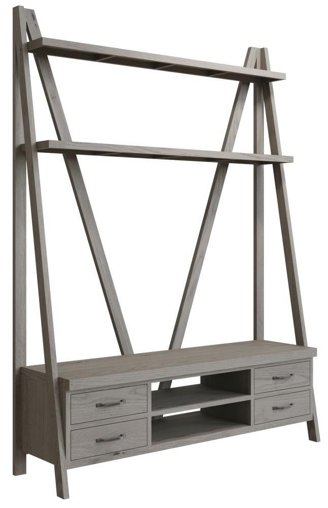 Coniston Grey Oak 4 Drawer TV Bookcase