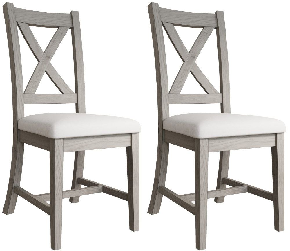 Coniston Grey Oak Crossback Fabric Dining Chair (Pair)