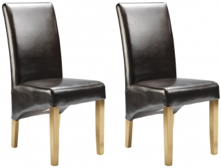 Cornell Dining Chair - Brown Bonded Leather with Antique Leg (Pair)
