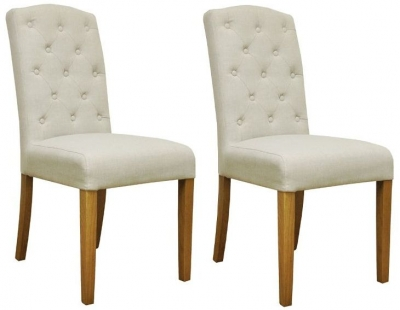 Cornell Oak Button Back Upholstered Chair (Pair)
