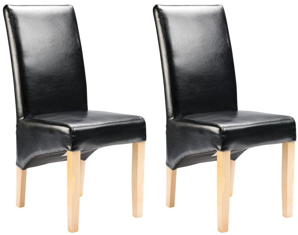 Cornell Dining Chair - Black Bonded Leather with Antique Leg (Pair)