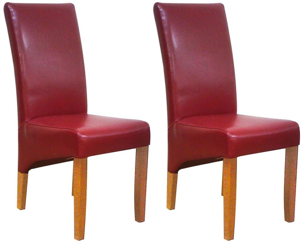 Cornell Dining Chair - Bordeux Bonded Leather with Antique Leg (Pair)