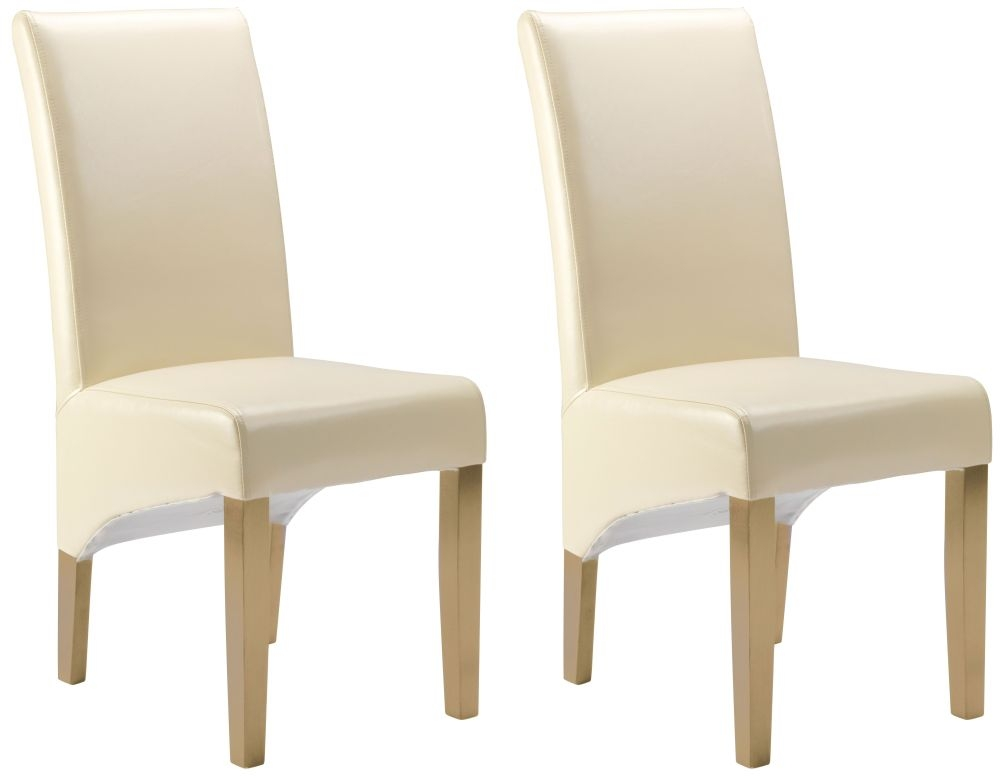 Cornell Dining Chair - Cream Bonded Leather with Antique Leg (Pair)