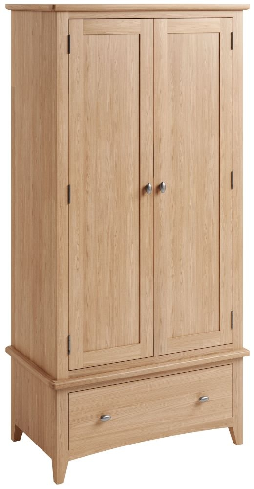 Eva Light Oak 2 Door 1 Drawer Wardrobe