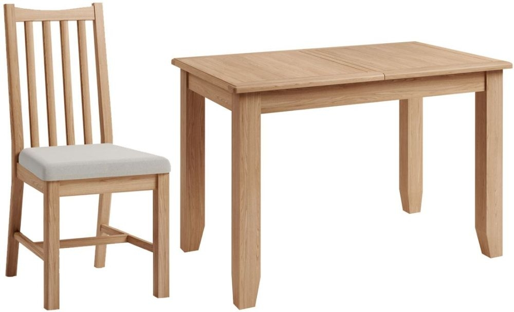 Eva Light Oak Butterfly Extending Dining Table and Chairs