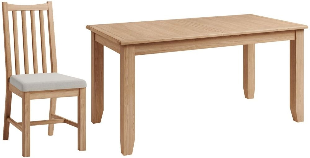 Eva Light Oak Large Butterfly Extending Dining Table and Chairs