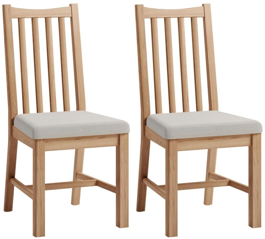 Eva Light Oak Slatted Back Dining Chair (Pair)