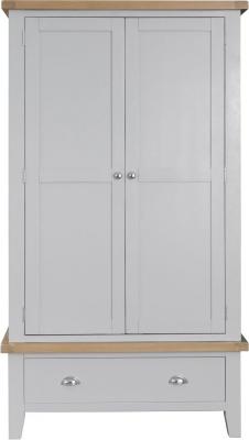 Hampstead Oak and Grey Painted 2 Door 1 Drawer Wardrobe