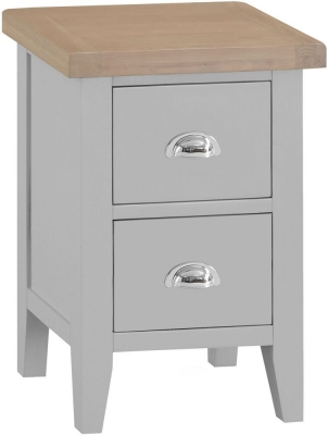 Hampstead Oak and Grey Painted 2 Drawer Bedside Cabinet