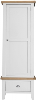 Hampstead Oak and White Painted 1 Door 1 Drawer Wardrobe