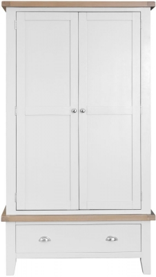 Hampstead Oak and White Painted 2 Door 1 Drawer Wardrobe