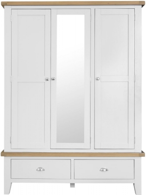 Hampstead Oak and White Painted 3 Door 2 Drawer Wardrobe