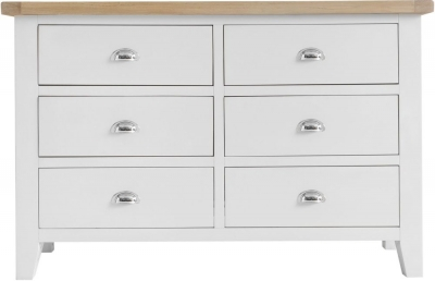 Hampstead Oak and White Painted 6 Drawer Chest