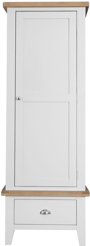 Hampstead 1 Door 1 Drawer Wardrobe - Oak and White Painted
