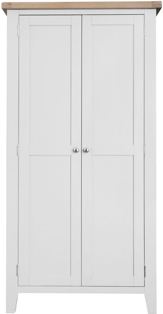 Hampstead 2 Door Wardrobe - Oak and White Painted