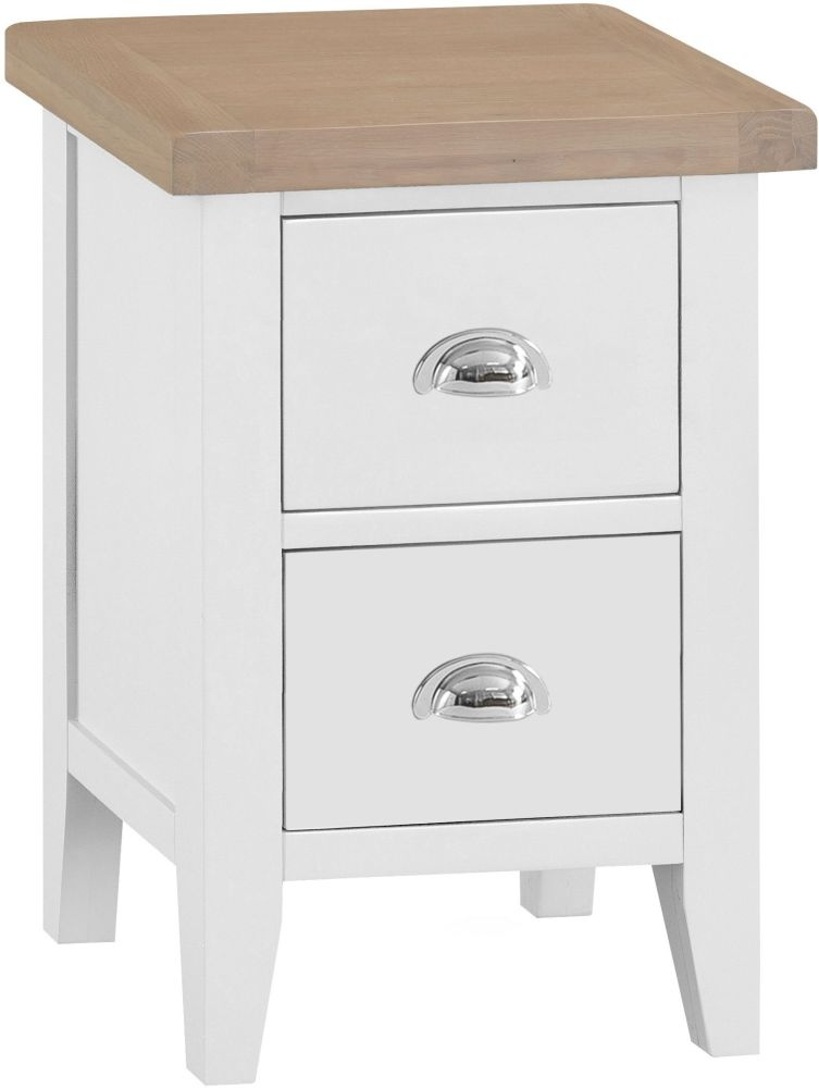 Hampstead Oak and White Painted 2 Drawer Bedside Cabinet
