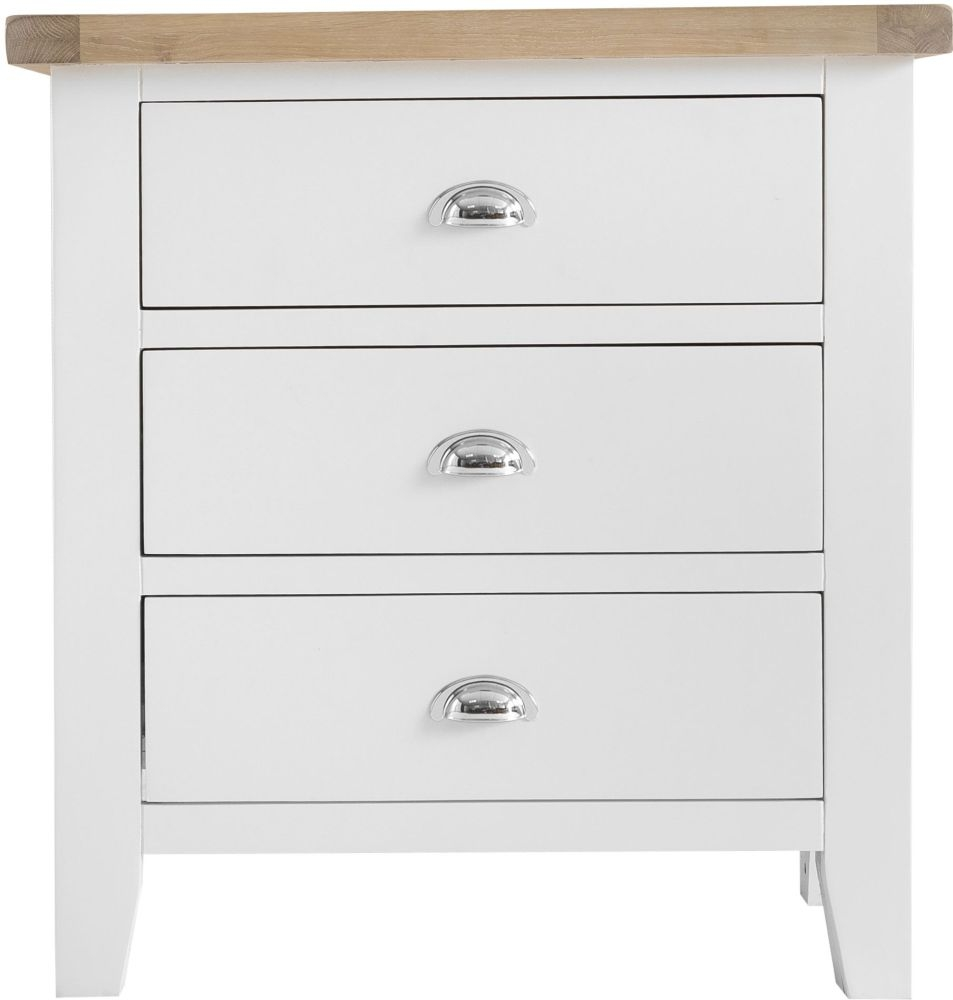 Hampstead 3 Drawer Chest - Oak and White Painted