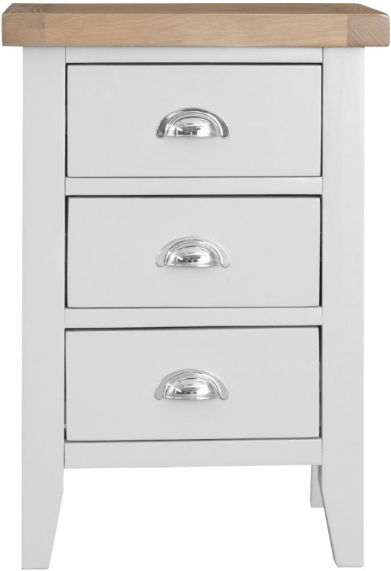 Hampstead Oak and White Painted 3 Drawer Bedside Cabinet