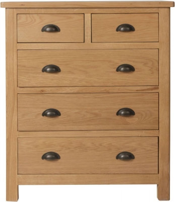 Hampton Rustic Oak 2+3 Drawer Chest