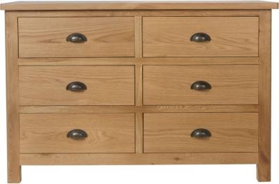 Hampton Rustic Oak 6 Drawer Chest