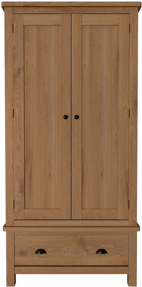 Hampton Rustic Oak 2 Door 1 Drawer Wardrobe