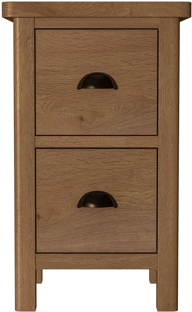 Hampton Rustic Oak Narrow Bedside Cabinet