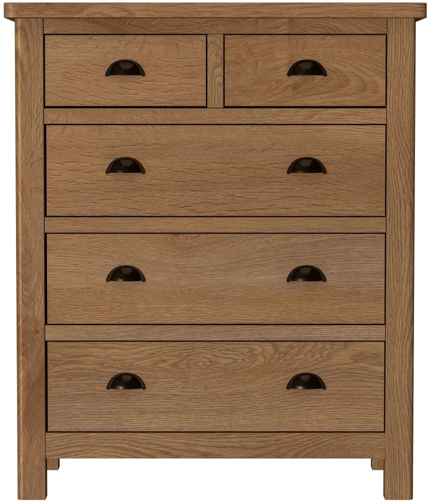 Hampton Rustic Oak 2+3 Drawer Chest