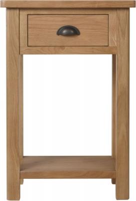 Hampton Rustic Oak 1 Drawer Telephone Table