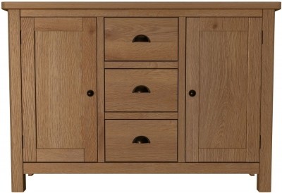 Hampton Rustic Oak 2 Door 3 Drawer Medium Sideboard