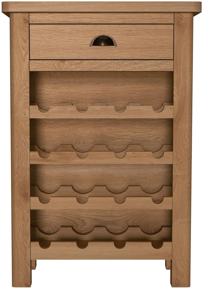Hampton Rustic Oak Wine Cabinet