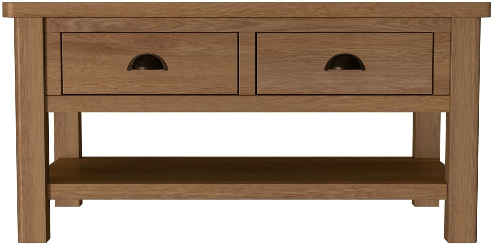 Hampton Rustic Oak 2 Drawer Coffee Table
