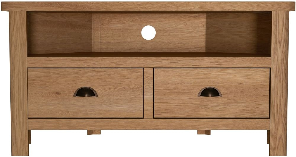 Hampton Rustic Oak Corner TV Unit