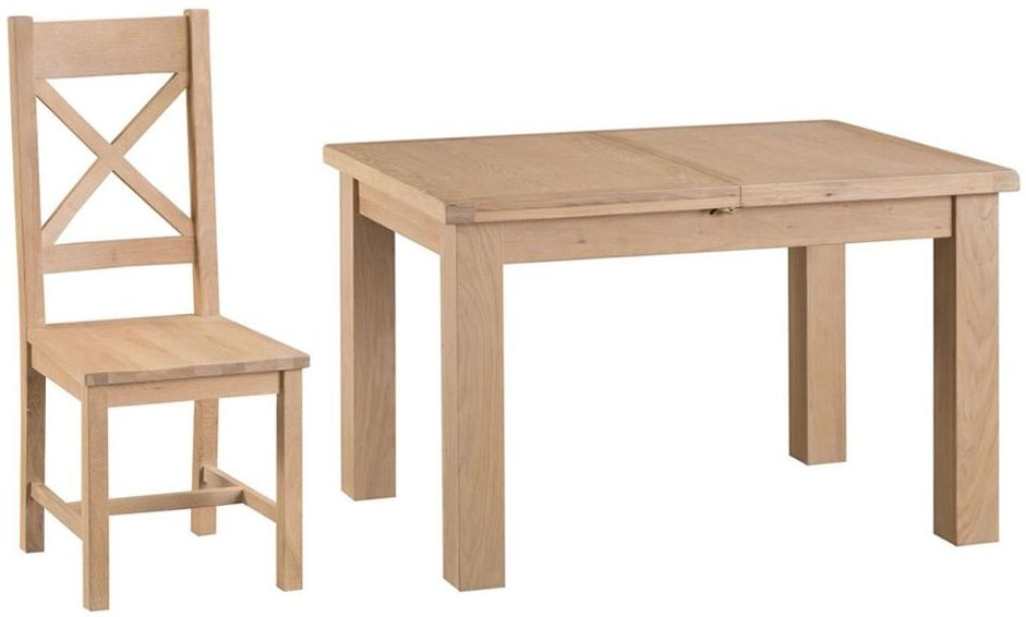 Henley Oak Medium Butterfly Extending Dining Table and 4 Cross Back Wooden Chair