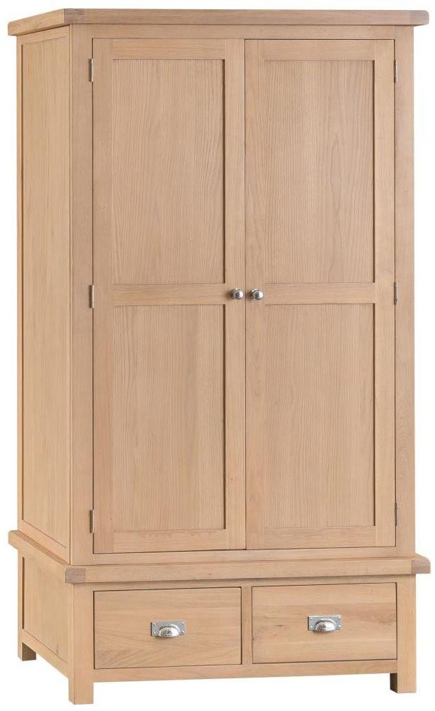 Henley Oak 2 Door 2 Drawer Wardrobe