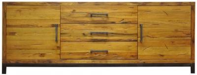 Industrial Aged Oak and Metal Sideboard - 2 Door 3 Drawer