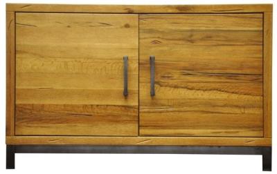 Industrial Aged Oak and Metal Sideboard - Standard