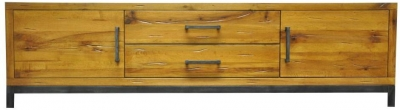 Industrial Aged Oak and Metal TV Unit - Large