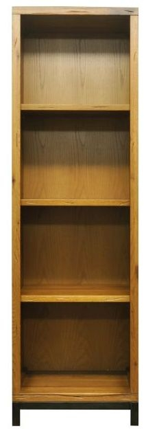 Industrial Aged Oak and Metal Large Bookcase