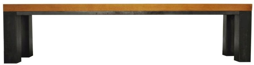 Industrial Aged Oak and Metal Dining Bench - Small