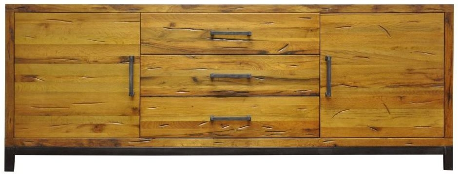 Industrial Aged Oak and Metal Sideboard - 2 Door 3 Drawer