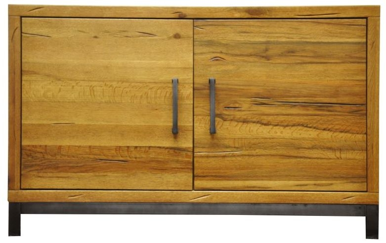 Industrial Aged Oak and Metal 2 Door Narrow Sideboard