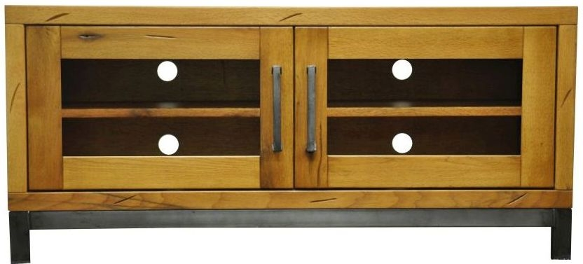 Industrial Aged Oak and Metal TV Unit - Standard