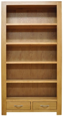 Newton Oak Bookcase - Large Wide