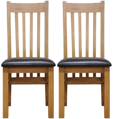 Newton Oak Dining Chair - Slat Back Faux Leather Seat (Pair)