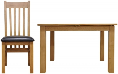 Newton Oak Dining Set - 1.2m Butterfly with 4 Slat Back Chairs